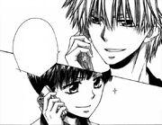 Suzuna and takumi talking on the phone