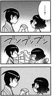 Keima doesn't let her hand go