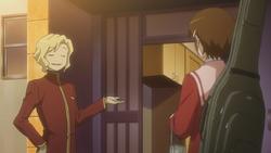 Ryo letting chihiro in