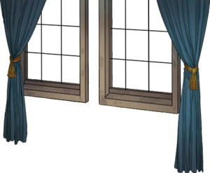 Window with blue curtain