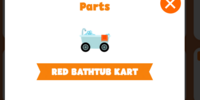 Red bathtub kart