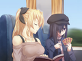 Lilly and Hanako on train.png