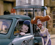 Gromit-and-Wallace-voiced-by-Peter-Sallis-and-Lady-Tottingtonvoiced-by-Helena-Bonham-Carter-on-the-set-of-DreamWorks-new-animatio