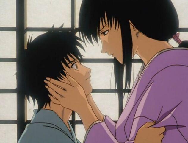 File:Tomoe and sad Enishi in Trust & Betrayal OVA.jpg