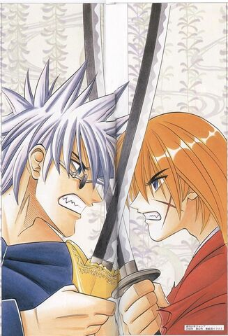 File:Enishi and Kenshin - Weekly Shonen Jump in 1998 No. 42 illustrations for the cover.jpg