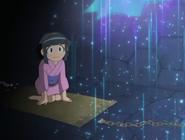 Omiyo as a child watching Mr. Kappa leave