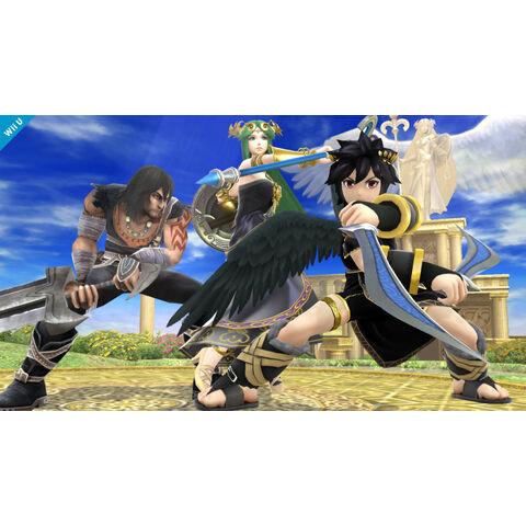 Pit a punto de golpear a Fox con el Brazal radial en Super Smash Bros. (3DS/Wii U)