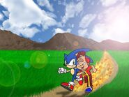 Alvin and Sonic in The Big Race