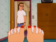 Hank sees 10 Peggy's Red toes