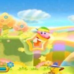 Kirby pasando a otra plataforma mediante la <a href=