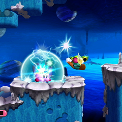 Kirby usando su habilidad Chispazo contra Sharpe Knight.