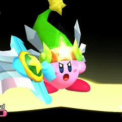 Kirby obteniendo su Super transformación, 'Super Espada'.