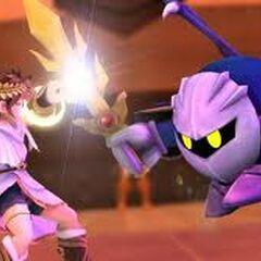 Meta Knight luchando contra Pit en <a href=