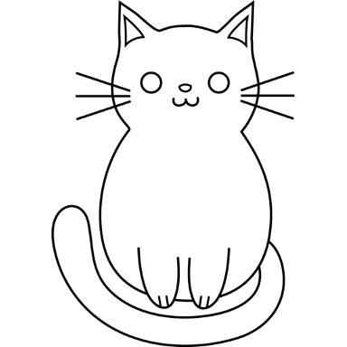 File:Cat Outline Black 384x384.png