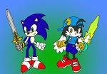 File:Klonoa and Sonic swordsmen by Wakeangel2001.jpg
