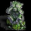 Monkey statue eyes mossy