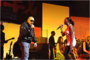 Rosie Wilson and Shaun Ryder in the Dare live performance