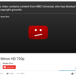 NBCUniversal taking down a Despicable Me video.