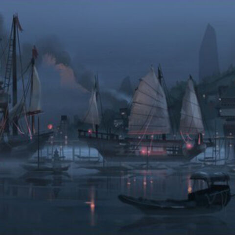 Early concept artwork of the harbor by Chris Brock