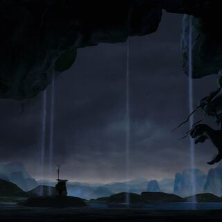 Shifu inside the cavern during a storm