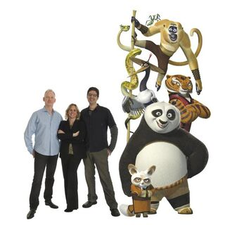 Characters and filmmakers pose, featuring directors John Stevenson (left) and Mark Osborne (right), and producer Melissa Cobb (center) with <a href=