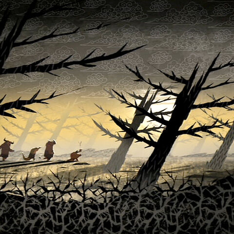 The four travelers crossing the Forest of Pain in <i><a href=