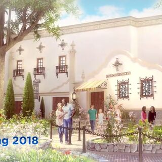 Concept art of the attraction courtyard
