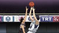 Koganei moves to stop Mibuchi's shot anime