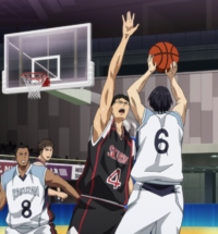 Hyūga stops Mibuchi's shot