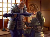 Tatsune gifting his tetsubo to his son