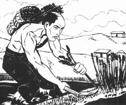 Peasant using a kama