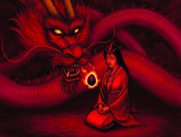 Ochiai communicating with the Fire Dragon