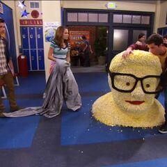 Adam licks the popcorn Perry