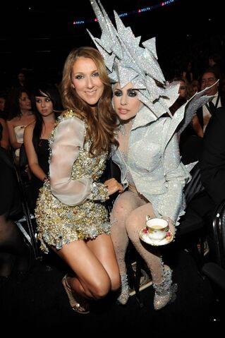 File:1-31-10 Lady Gaga and Celine Dion at Grammy Awards 2010.jpg