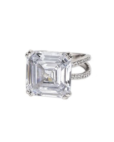 File:CZ by Kenneth Jay Lane - 2 carat (app) ring Asscher Cut and pave Cubic Zirconia, set in rhodium plated brass.jpg