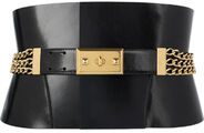 Alexander McQueen chain-embellished bridle leather belt