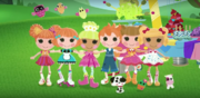 Lalaloopsy dancing in a straight line