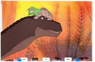 The Land Before Time Littlefoot and Mother Production Cel 2 Setup