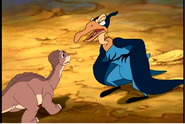 Petrie's mom is corss with Littlefoot