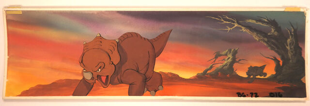 File:Cera LAND BEFORE TIME Key Concept DON BLUTH Production cel Art feature painting.jpg