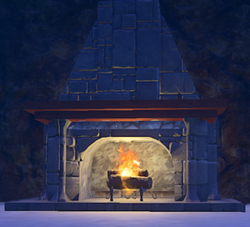 Landmark Andiron in player built Fireplace