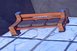 Painted Wooden Settle prop placed