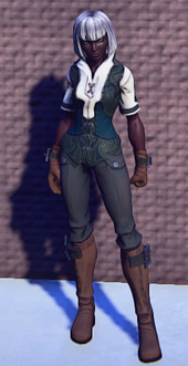 Pathfinders Gear Emerald equipped