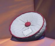 Landmark Round Cushion White prop placed