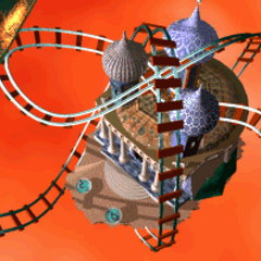 The rollercoaster in the temple in LBA2