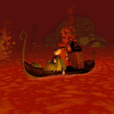 Twinsen rides the Ferryman's boat