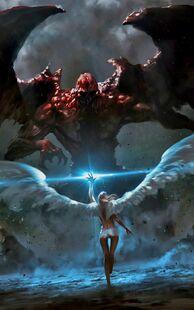 Angel VS Demon Battle Android Wallpaper