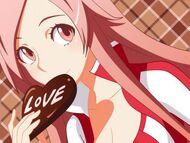 Pink-hair-anime-girl-valentine-chocolate-love