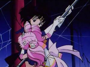 Sailor mini moon helps sailor saturn