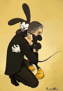 Mickey and oswald hug walt disney
